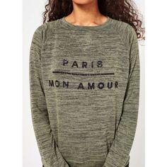 Miss Selfridge PETITE 'Paris' Sweatshirt ($30) ❤ liked on Polyvore featuring tops, hoodies, sweatshirts, khaki, petite, viscose tops, glitter sweatshirt, petite tops, petite sweatshirts and rayon tops
