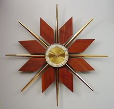 Mid-Century Modern Starburst Wall Clock. Teak Brass Sunburst 50s 60s Atomic Mod
