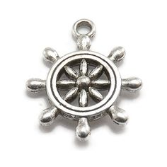 6 Ship Wheel Charms silver tone metal by OliviaMadisonCompany (Craft Supplies & Tools, Jewelry & Beading Supplies, Charms, metal charms, charm bracelet, olivia madison, anchor charm, nautical charm, boating charm, sailboat charm, sailing charm, yachting charm, rudder charm, captains wheel charm, ship wheel charm, silver rudder charm)