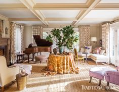 Designer Barry Dixon brings painterly flair to a family's fairy-tale Tudor in Washington, D. Tudor Style Homes, Large Coffee Tables, Piano Room, Tudor House, Modern Sectional, Formal Living Rooms, Dining Rooms, Elegant Homes, Traditional House