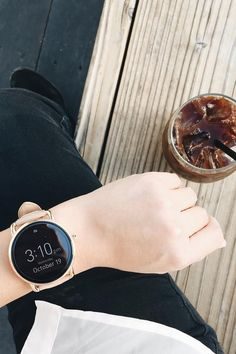 Never miss an afternoon coffee date with the Q Wander rose gold smartwatch notifications. via @ lestephpak