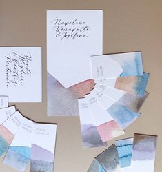 Dip-dyed wedding on-the-day stationery. Everything is dip-dyed in vegetable and fruit juices for an all natural flowy look. #jostudiodesign #weddingstationery #weddinginspiration #wedding #customweddinginvitationsuk #weddingcollection #invitations #allinthedetails #artwork #invitations #calligraphy #ink #nib #envelopes #graphicdesign  #flowers #babybreath #eucalyptus #goldseal #classicwedding#modernwedding #allinthedetails #crystalpalace #london #studio #londondesignstudio #dipdye…