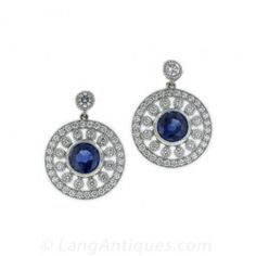Edwardian Sapphire and Diamond Earrings - Antique & Vintage Earrings - Vintage Jewelry