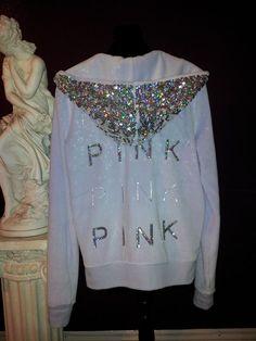 Victoria Secret Pink Sequin Hoodie * Size Small *