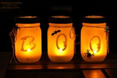 A perfect way to light the path to your front door on Halloween night, these frosted lights can be made with alphabet stickers and glitter blast spray paint.