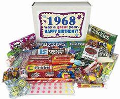 Authentic 1968 Retro Nostalgic Candy 48th Birthday Gift Basket Box Jr. Born '60s, ,