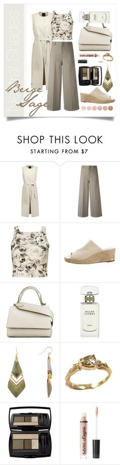 """""""Cool Neutrals in Beige & Sage"""" by elimarga ❤ liked on Polyvore featuring Theory, PT01 Pantaloni Torino, Miss Selfridge, Paloma Berceló, MaxMara, Ralph Lauren, Alexis Bittar, K Brunini, Lancôme and Charlotte Russe"""