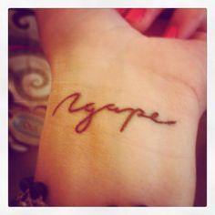 New wrist tattoo ~Agape~ unconditional love, Love of God....