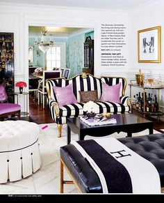 The home of Jessica Waks (design editor of Style at Home). Exotic and eclectic color character, plenty of glamour, black and white with pops of royal, vivid purple. Magazine: Style at Home Canada April 2014 Title: Pure Imagination Photo: Stacey Brandford Decor Room, Room Decorations, Living Room Decor, Home Decor, Design Salon, Deco Design, Design Design, Decoration Inspiration, Room Inspiration