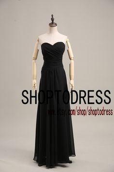 Black bridesmaid dress, Wedding bridesmaid dress chiffon, long bridesmaid dress black sweetheart neck custom size