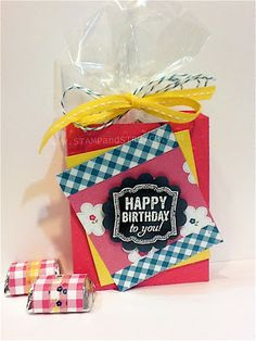 Stamp and Stretch: Gingham Garden & Birthday Chalk Board Treat Box with tutorial