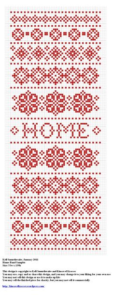 Design: Home Band Sampler Size: 53w x 139h Designer: Kell Smurthwaite, Kincavel Krosses Permissions: This design is copyright to Kell Smurthwaite and Kincavel Krosses You may use, copy and/or share...