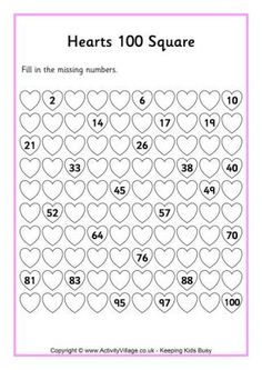 Hearts 100 Square along with some other good resources for a valentines day lapbook or activities