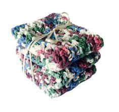 Handmade #Kitchen Dish Cloths Rustic White Blue Green Purple Cotton Set of 3 Handmade Crochet