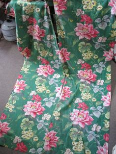 Vintage Pair Floral Barkcloth Curtains Pink Green 75x23 Cottage Chic Fabric by SimplyCottageChic on Etsy