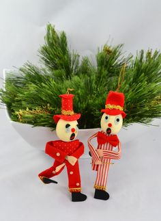 vintage mid century clown christmas ornaments made in japan - Creepy Christmas Decorations