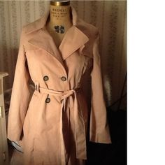 Amazing pink trench coat by For Cynthia, Sz large. Will fit a woman's sz 4-8 best. Double breasted with wrap tie closure. Pretty silver grommet at belt loops. Can be worn as a jacket or even a dress. SOOO sexy!  EXCELLENT condition. Worn just twice.  Great GIFT!  Will ship right away.  Check out my other pricey items
