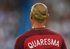 Ricardo Quaresma of Portugal is seen with his haircut with a design shaved into it during the UEFA EURO 2016 Final match between Portugal and France at Stade de France on July 10, 2016 in Paris, France.
