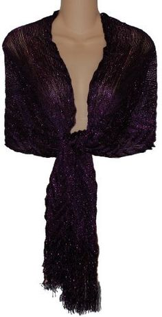 Sheer Purple Lurex Fringed Evening Wrap Shawl for Prom Wedding Formal Sheer Delights. $17.99