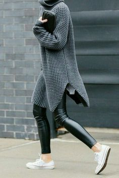 Trendy street outfit in winter