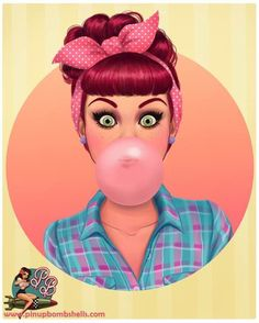 Pin up girl blowing a bubble with pink bubble gum  art