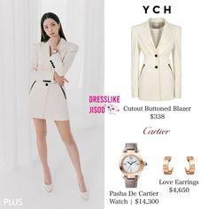 Blackpink Fashion, Kpop Fashion Outfits, Korean Outfits, Korean Fashion, Pink Outfits, Chic Outfits, Cute Comfy Outfits, Blackpink Jisoo, Blazer Buttons