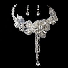 Venice Lace, Pearl and Rhinestone Bib Wedding Jewelry Set - Affordable Elegance Bridal -
