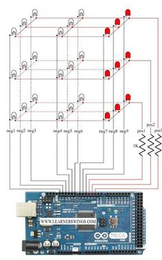 Control 3*3*3 LED Cube using Arduino Mega - Easy Course for Beginners  Read more about circuit and download program at:  http://www.learnerswings.com/2014/10/control-333-led-cube-using-arduino-mega.html