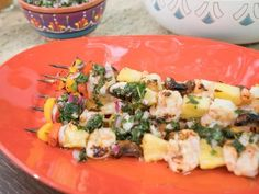 Rum-Glazed Shrimp Skewers Recipe from Food Network Skewer Recipes, Top Recipes, Shrimp Recipes, Shrimp Dishes, Fish Dishes, Main Dishes, Dinner Dishes, Food Network/trisha, Rum