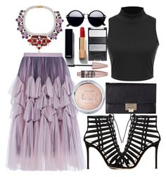 """""""A little fancy"""" by far-out-fia ❤ liked on Polyvore featuring Shourouk, Dries Van Noten, Gianvito Rossi, Jimmy Choo, Chanel and Maybelline"""