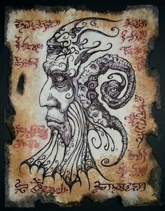 cthulhu larp Necronomicon Fragment ALHAZRED by zarono on Etsy Hp Lovecraft, Lovecraft Cthulhu, Ange Demon, Demon Art, Cthulhu Mythos, Necronomicon Lovecraft, Lovecraftian Horror, Satanic Art, Occult Art