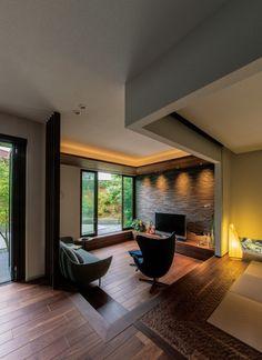 Sunken Living Room, Cozy Living Rooms, Home Living Room, Living Room Decor, Japanese Home Design, Japanese Style House, Modern Tiny House, Modern House Design, Industrial Home Design