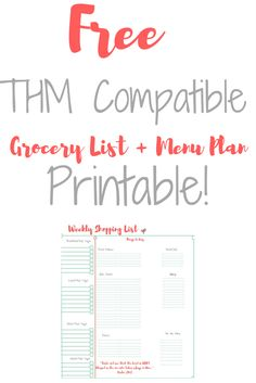Save money and time with this FREE Trim Healthy Mama compatible grocery list and menu plan printable!