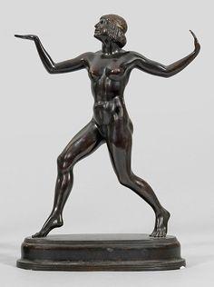 Fritz Koelle (1895 Augsburg - 1953 Probstzella)Ägyptische TänzerinBronze, dunkel patiniert. Sign.; — Skulpturen, Plastiken, Installationen, Bronzen, Relief