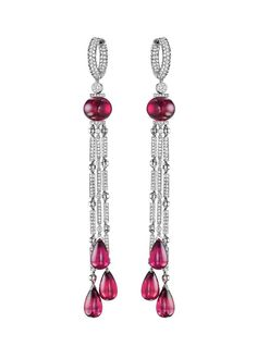 Jacob & Co. platinum Harlequin rubellite drop earrings