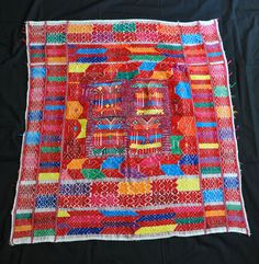 Colorful woven utility cloth or tzute from Palin, Guatemala Maya, Quilts, Blanket, Crochet, Colorful, Ethnic Dress, Rugs, Tejidos, Tapestries