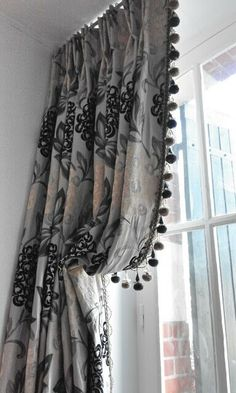 Italian strung curtains, optimum light for a sweet little balcony with French doors. So enjoyed making these:-) Drapery Styles, Curtain Styles, Curtain Designs, Curtains And Draperies, Drapery Panels, Curtains Drawn, French Curtains, Curtain Headings, Custom Window Treatments