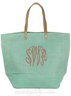 Monogrammed Slate Blue Bag, cute beach bag