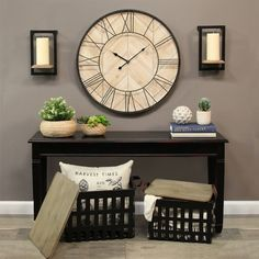 wall clock decor living room 857865429005428719 - Stratton Home Decor Set of 2 Metal Storage Baskets with Wood Tops, Black/ Leather Source by casafinainteriordesign Home Decor Sets, Easy Home Decor, Farmhouse Side Table, Farmhouse Decor, Modern Farmhouse, Vintage Farmhouse, Country Decor, Bedroom Country, Living Room Designs