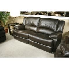 Dark Chocolate Leather Reclining Sofa