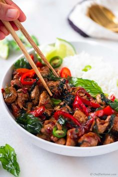 An easy and flavorful Thai Basil Chicken stir-fry recipe which you can prepare in 25 minutes at home. Serve with steamed rice for a homemade Thai dinner quicker than takeout or wait for delivery. Chicken Stir Fry Sauce, Chicken Noodles, Thai Basil Chicken, Eat Thai, Chicken Cutlets, Roast Chicken, Diced Chicken, Chicken Meals, Boneless Chicken