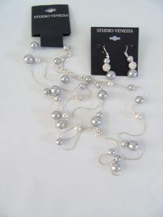 Necklace and Dangle Earrings Set Studio Venezia Faux Silver Pearl Party Jewelry  #StudioVenezia