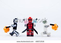 Nonthabure, Thailand - September, 24, 2016 : Lego ghost halloween want halloween candy Trick or Treat with Lego deadpool.Theme Halloween background.