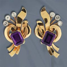 14K Rose and white gold retro clip earrings with ribbon and spray motif featuring emerald cut amethysts and three bezel set round brilliant cut diamonds