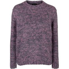 TopShop Space Dye Twisted Knit Jumper (39 BRL) ❤ liked on Polyvore featuring tops, sweaters, jumpers, topshop, pink, crew neck knitwear, crewneck sweaters, crew sweater, purple top and knit crew neck sweater