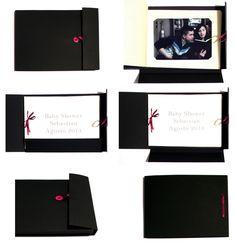 album de fotos  handmade contrapack negro canson crema y blanco cinta de genero boton fotos