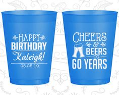 60th Birthday Frosted Cups, Cheers to 60 Years, Cheers and Beers, Frosted Birthday Cups (20006)