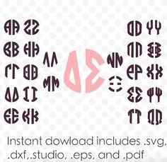 Circle monogram font svg file greek alphabet two by designaroos Circle Monogram, Monogram Fonts, Monograms, Alphabet Templates, Greek Alphabet, Svg File, Letters, Writing, Decal
