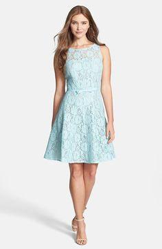 Pastel blue lace wedding guest dress