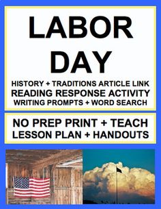 LABOR DAY LESSON PLAN & ACTIVITIES: NO PREP Lesson Plan & Student Printables for LABOR DAY. Simply Print, Project & Teach this LABOR DAY!! #labordaylessons